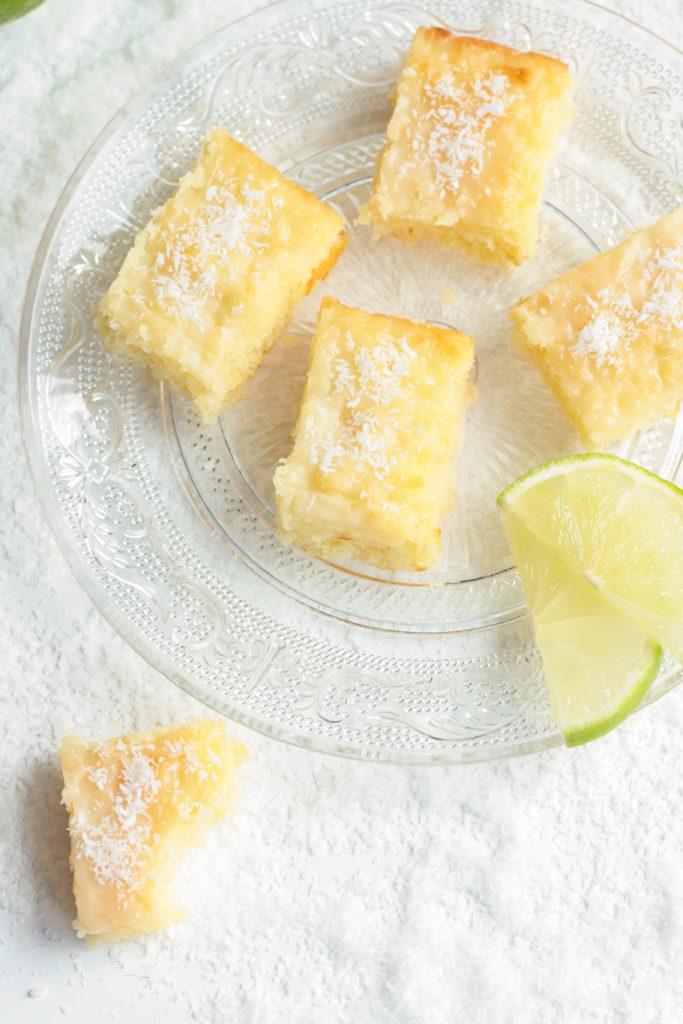 Blondies Kokos Limette weiße Schokolade Kokosmilch Blondie krimiundkeks