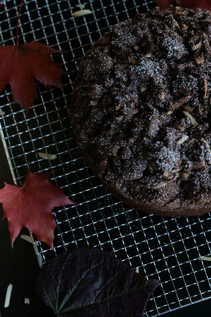 Schokokuchen Birnen Schokolade Streusel Mandeln Rotwein herbstlich krimiundkeks