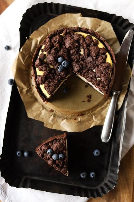 Käsekuchen Zupfkuchen Russischer Zupfkuchen Cheesecake Tag des Käsekuchens Heidelbeeren Beeren Blueberries Quark Mürbeteig Streusel krimiundkeks