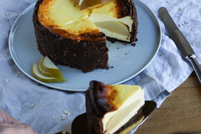 Käsekuchen Birne Helene Birne-Helene-Käsekuchen Cheesecake Mürbeteig Quark Haferflocken krimiundkeks