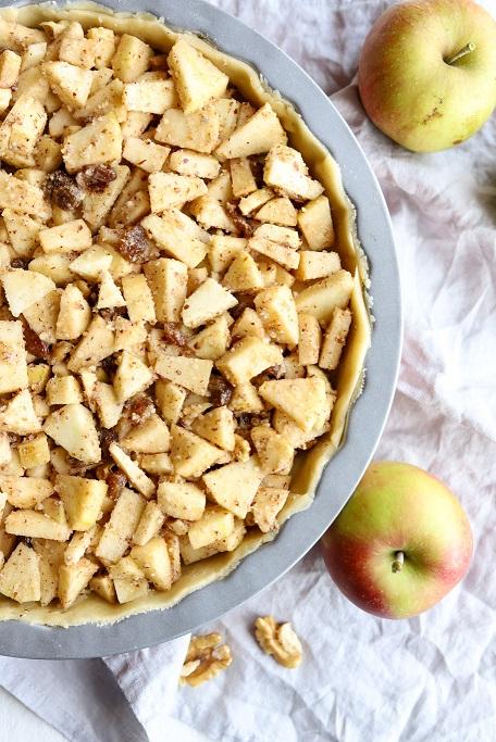 Apple Pie Apfelkuchen Mürbeteig Pie Crust Teiggitter Herbst Walnüsse Haselnüsse Zimt krimiundkeks