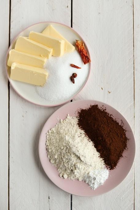Shortbread Schoko-Chili-Shortbread Schokolade Plätzchen Weihnachten Chili scharf Mürbeteig Cookies krimiundkeks