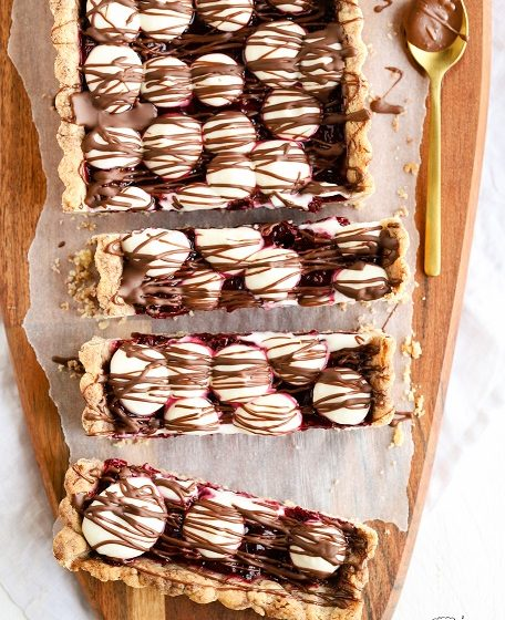 Tarte Donauwelle Donauwellen-Tarte Mürbeteig Kirschen Schokolade Frischkäse Buttercreme krimiundkeks Donauwellen