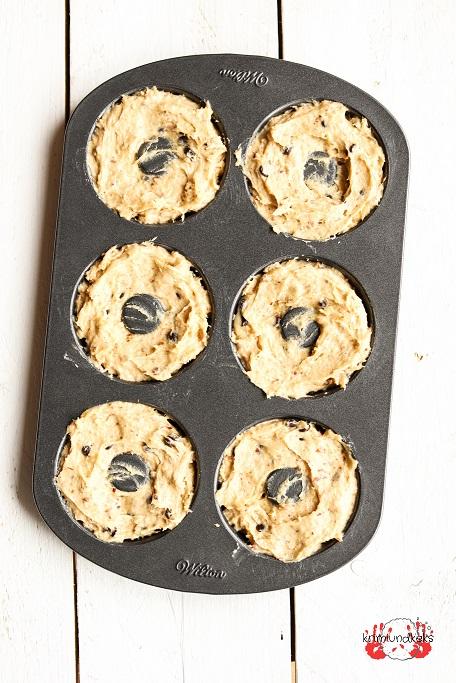 Donuts aus dem Backofen ohne Frittieren Schokolade Mandeln Rührteig schnell Backrezept Rezept für Donuts krimiundkeks Donuts backen
