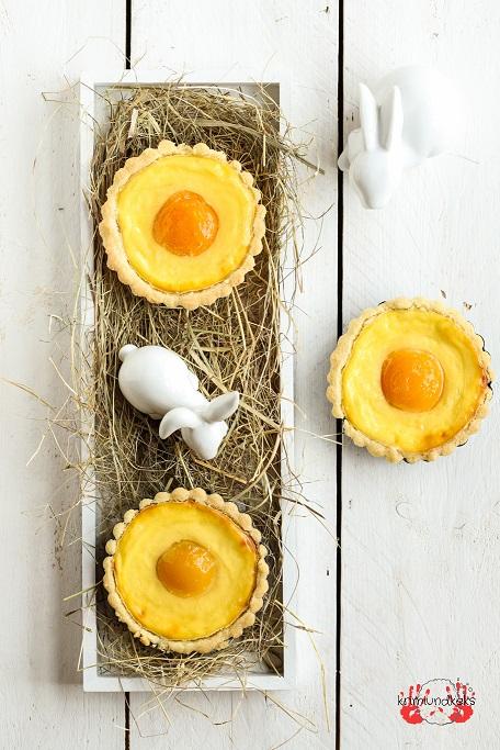 Ostern Spiegelei-Törtchen Spiegelei-Kuchen Osterbäckerei Törtchen Käsekuchen Aprikosen Mürbeteig Tartelettes krimiundkeks