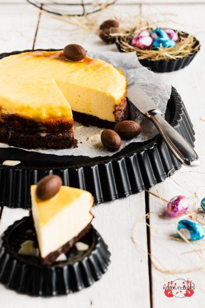 Eierlikör Käsekuchen Eierlikör-Käsekuchen Ostern Cheesecake Quark Schokokekse krimiundkeks