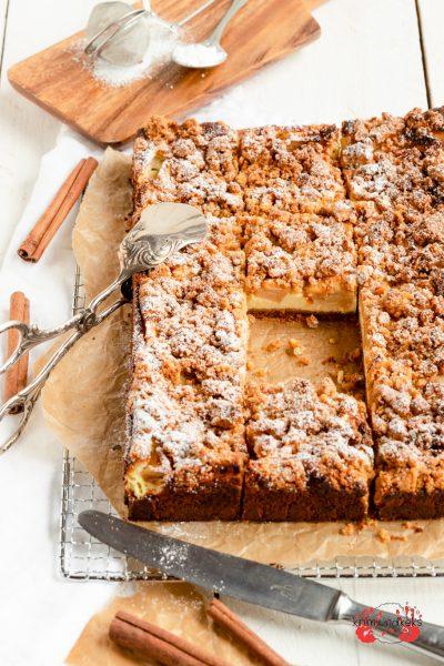 Applecrumble-Cheesecake Apfel Sreusel Käsekuchen Frischkäse Zimt Streuselkuchen krimiundkeks
