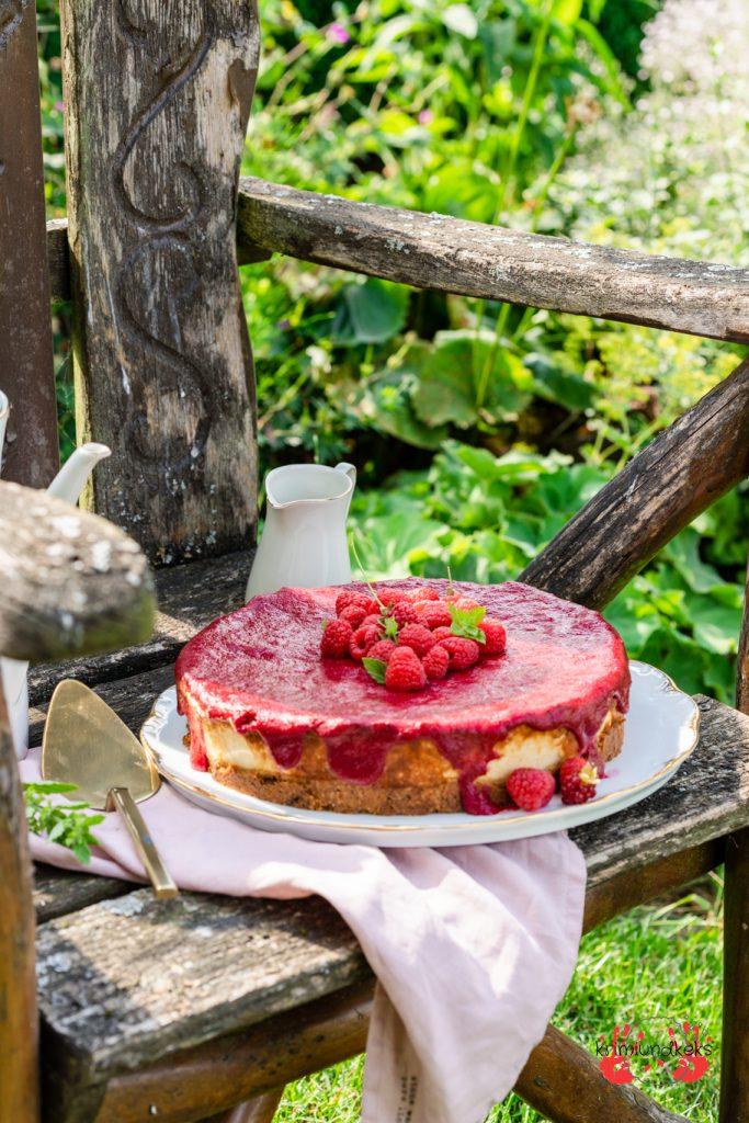 Kenwood kFlex Schmandkuchen Himbeeren Käsekuchen Sommer Cookie weiße Schokolade backen Mandeln krimiundkeks
