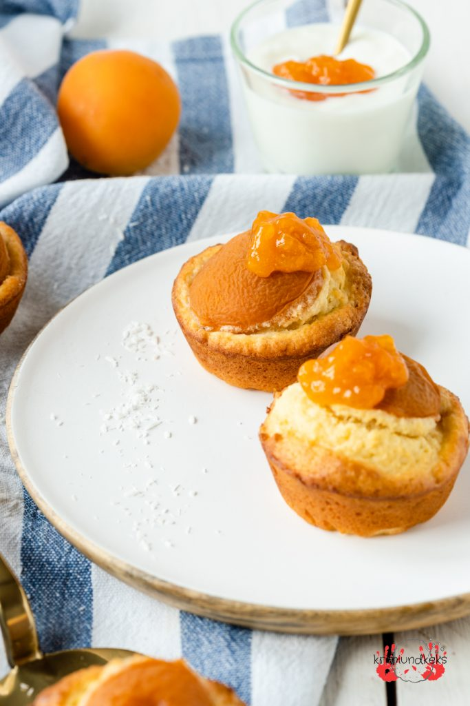 Aprikosen-Skyr-Muffins Sommer Muffins Aprikosen Kokos Rührteig Blitzrezept krimiundkeks