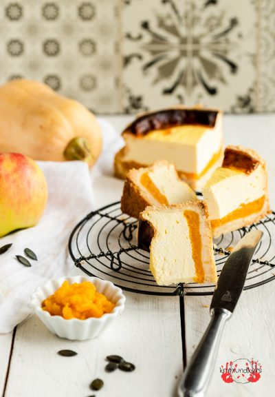 Käsekuchen Kürbis Apfel Kürbis-Käsekuchen Apfelkuchen Herbst Mürbeteig Cheesecake krimiundkeks