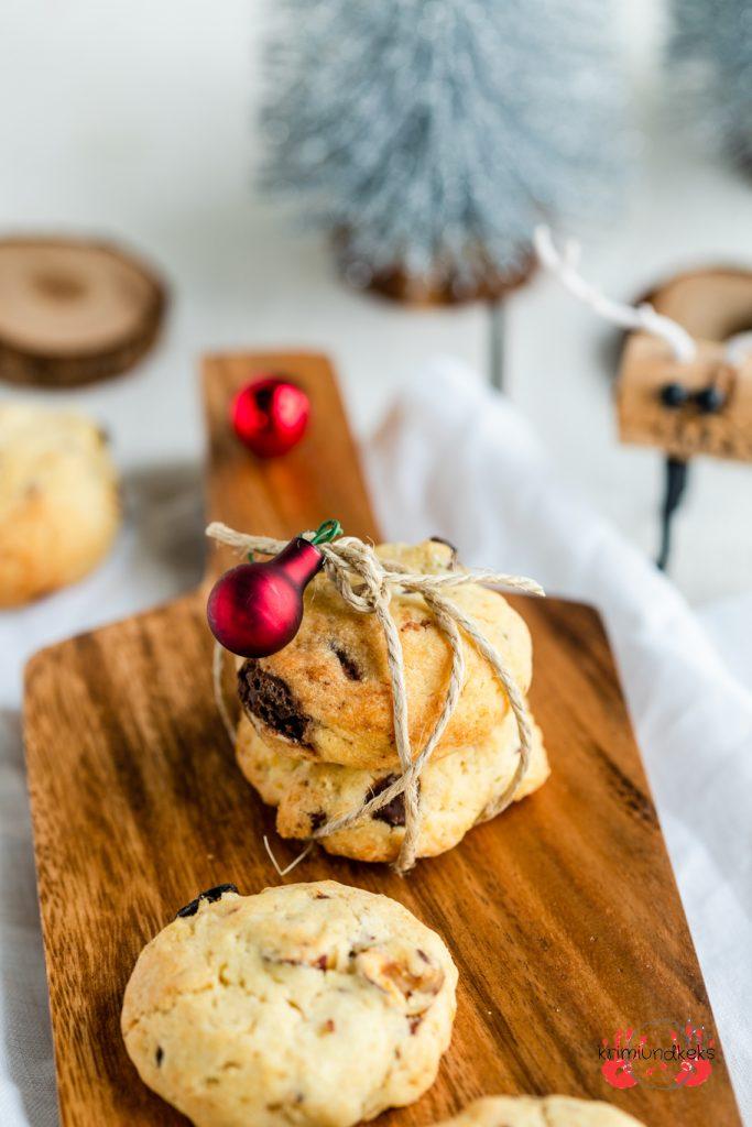 Cookies Rum-Trauben-Nuss-Cookies Rosinen Schokolade Nüsse Kekse Weihnachten Plätzchen krimiundkeks