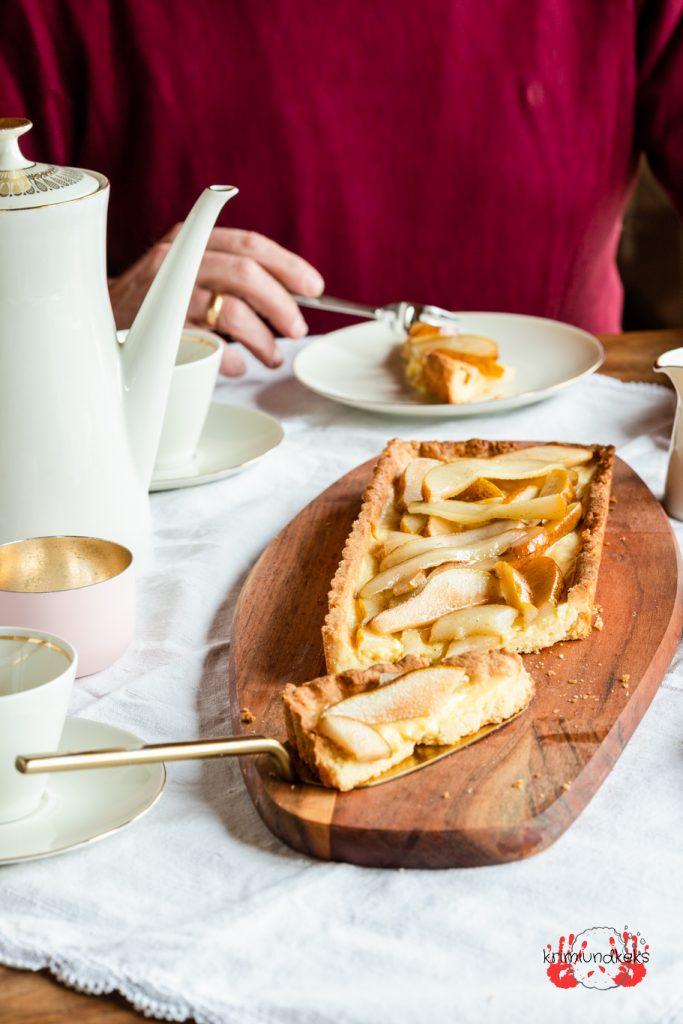 Vanille-Birnen-Tarte Vanille Tarte Birnen Mürbeteig Pudding krimiundkeks