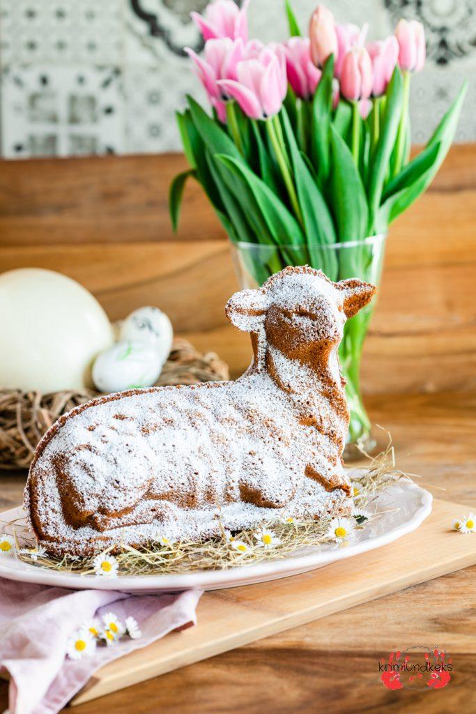 Osterlamm Rührteig Backen für Ostern Rührkuchen Mandeln Lamm Aluguss-Backform Ostern krimiundkeks