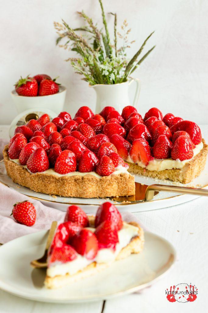 Erdbeerkuchen Dänische Erdbeertarte Tarte Erdbeerkuchen MÜrbeteig Marzipan Dänemark krimiundkeks