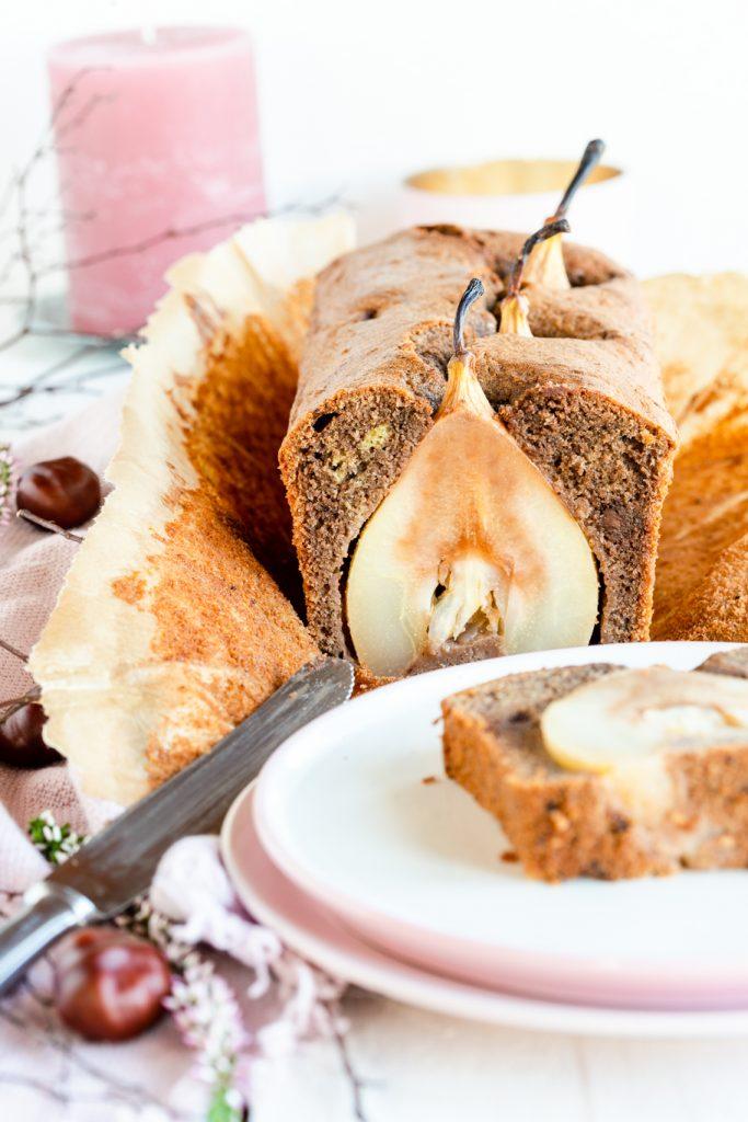 Kastenkuchen Birnen-Rotweinkuchen Birnen Rotweinkuchen Schokolade Rührteig Zimt mit Alkohol Herbst krimiundkeks