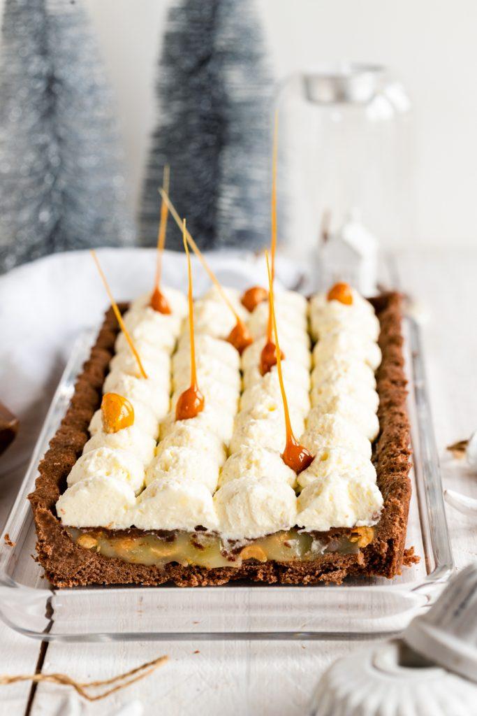 Erdnuss-Karamell-Tarte Tarte Karamell Erdnüsse Mürbeteig Erdnuss Sahne Weihnachtsbäckerei krimiundkeks