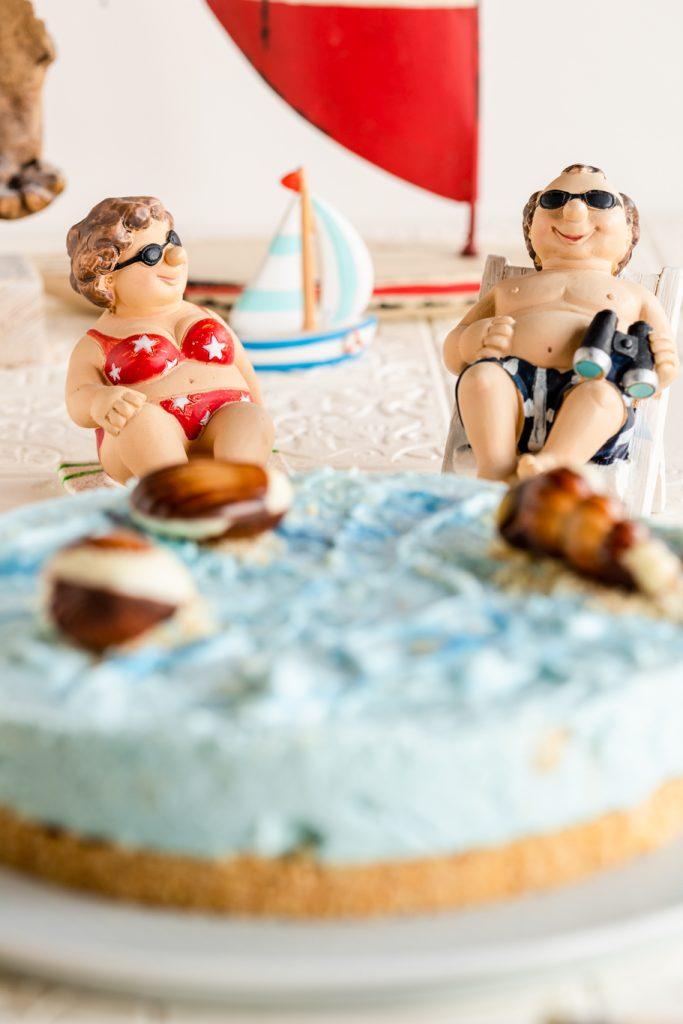 Kokos-Käsekuchen Life is better at the Beach Eat a Rainbow Spirulina blau Sommer Kuchen Käsekuchen Quark Frischkäse krimiundkeks